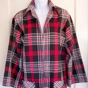 VTG Plaid Coat Wool Blend MID LENGTH Medium